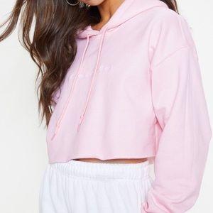 PLT cropped baby pink hoodie